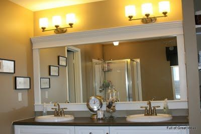 How to Upgrade your Builder Grade Mirror - Frame it!Bathroom Mirrors, Decor Ideas, Builder Grade, Master Baths, Diy Mirrors, Crowns Moldings, Frames Mirrors, Master Bathroom, Grade Mirrors