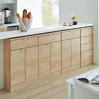 キッチンカウンター下をちょっとした貴重品スペースにできる鍵付きの薄型収納庫。1cm単位で高さをオーダーできるので、希望の設置スペースにぴったりとした造り付けのような仕上がり。ご自宅のインテリアに合わせて選べる3色の表面材はお手入れも簡単な素材です。