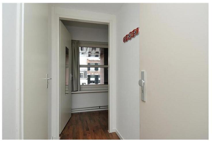 Entree, hal met meterkast en toegang tot de badkamer.