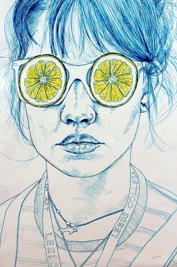 'Lemon Lady' an affordable art print available to buy online by Kate Powell theartfolk.com
