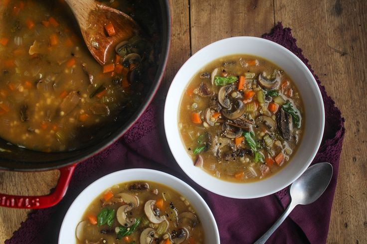 Inspired by the classic brothy soup from the deli counter, this hearty vegetarian soup is pure comfort and warmth. It brings together a blend of meaty mushrooms, vegetables, and tender pieces of pearled barley for a warm-me-up soup you can make in 30 minutes. And hold the beef: you'll never miss it.