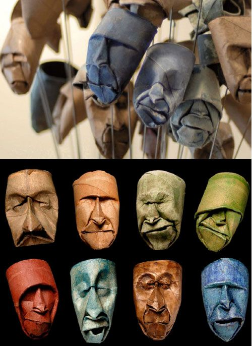 Junior Fritz Jacquet is an artist that loves working with paper and has created a series of small masks by bending and folding empty toilet paper rolls. It is amazing to see so many expression on the tiny paper roll.