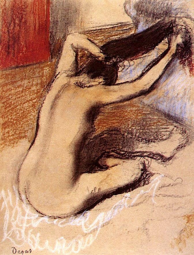 #Woman Combing Her Hair Edgar #Degas - circa 1889-1892
