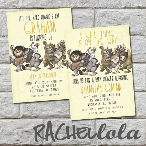 the wild things are birthday invitation or baby shower invitation