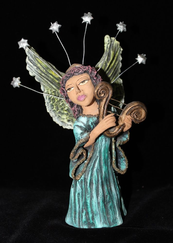 Angel Playing a Harp Free Standaing Mexican Folk Art Oaxaca Jose Juan Aguilar   | eBay