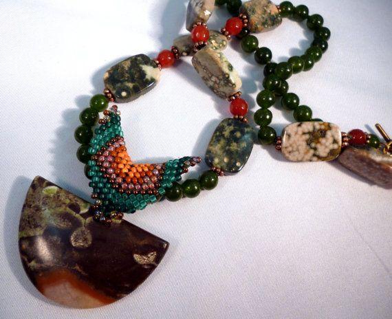 Green Eyed Lady  Jade Carnelian Ocean Jasper & by gypsyeyesjewelry