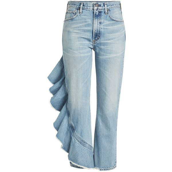 Citizens of Humanity Cropped Jeans (€389) ❤ liked on Polyvore featuring jeans, blue, satin cami, citizens of humanity, blue cami, satin jeans and cropped cami