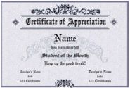 Certificate of Appreciation - personalize and print formal certificates: flower and lace border