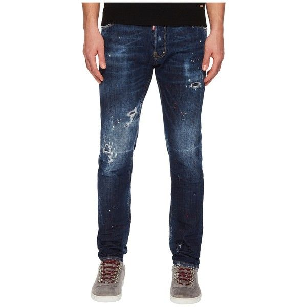 DSQUARED2 Dark Red Spray Wash Cool Guy Jeans (Navy) Men's Jeans ($620) ❤ liked on Polyvore featuring men's fashion, men's clothing, men's jeans, mens fitted jeans, mens destroyed jeans, mens ripped jeans, mens slim fit tapered leg jeans and mens slim fit jeans