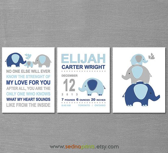 Navy blue and grey elephant Nursery Art Print Set - 8x10- elephant, stacked elephants, birth announcement, baby name, no one else  -UNFRAMED...