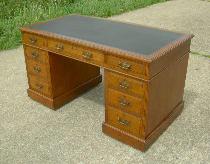 Antique Victorian Desk - Large Victorian Oak Pedestal Desk By Maples & Co