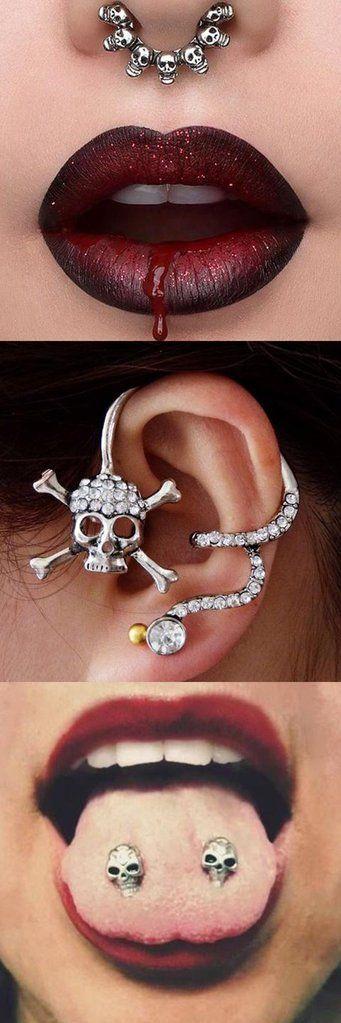 Skull Septum Piercing Jewelry Ideas - Pirate Earring Cuff - Tongue Barbell Studs - www.MyBodiArt.com