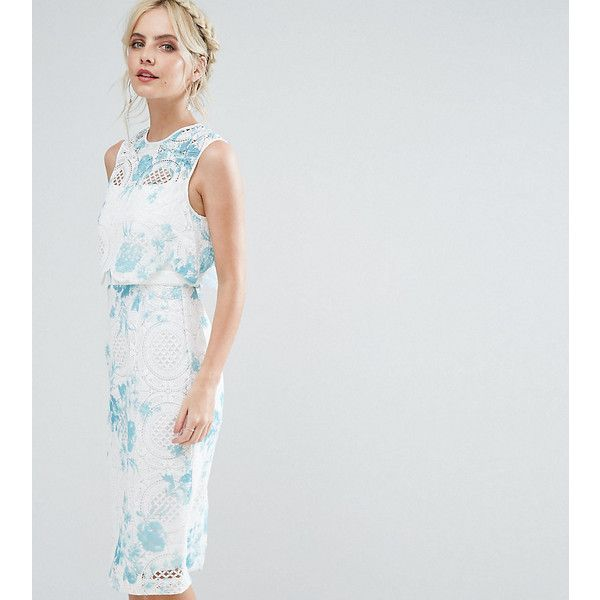 ASOS PETITE SALON Crop Top Lace Pencil Dress with Blue Floral Print (£30) ❤ liked on Polyvore featuring dresses, petite, white, white dress, petite prom dresses, white formal dresses, petite party dresses and formal prom dresses