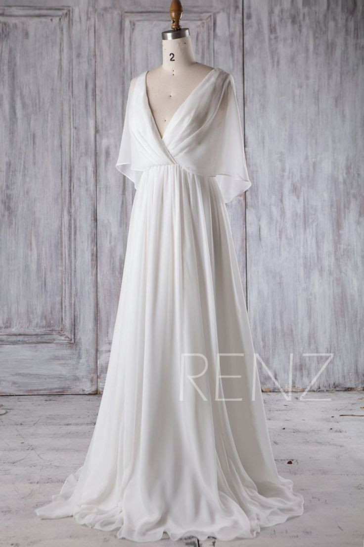 Seashore Wedding ceremony Costume White Chiffon Night Costume Lengthy Sleeve Robe Easy Wedding ceremony Attire Bridal Costume Ground Size (H339A)