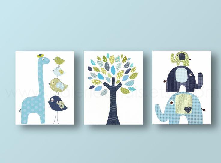Lot de 3 illustrations pour chambre d'enfant et bebe, chambre garcon,