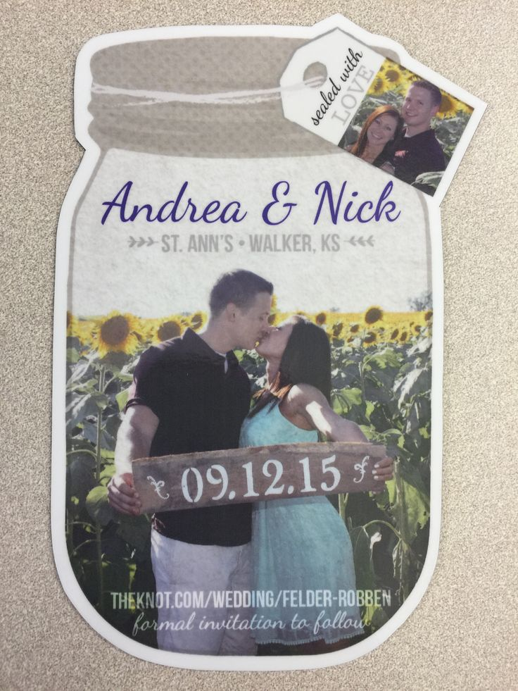 Mason jar save the date wedding magnet :)