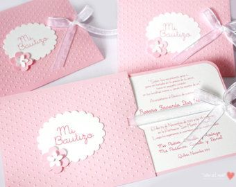 "Pink Beautiful Invitations for Baptism or Babyshower for acute and delicate girl / ""Two in One"""