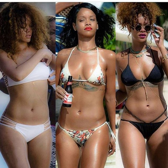 Photos: Rihanna's share beach days bikini look   On #Beachdays!!! Breathtaking Rihanna flaunt her bikini looks on several occasion. Which is your favorite bikini look??? Below is another photo of Rihanna as she display boobs and butts sideways.