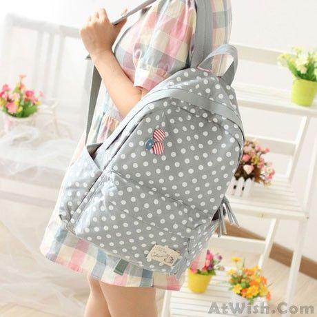 Fresh Polka Dot Canvas Backpack & Book Bag