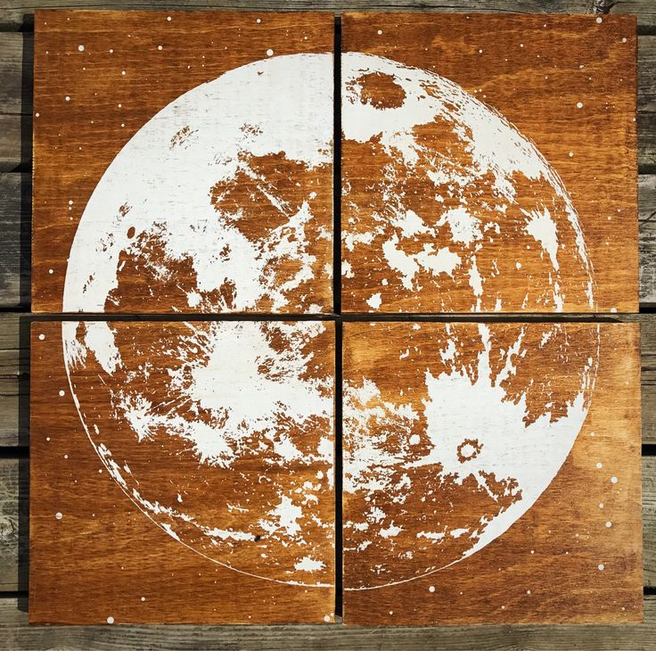 24x24 wooden screen printed moon print by CreationsSauvages on Etsy