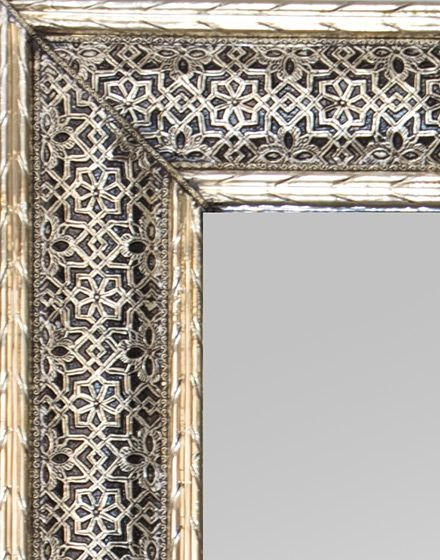 White Metal Etched Rectangle Moroccan Mirror