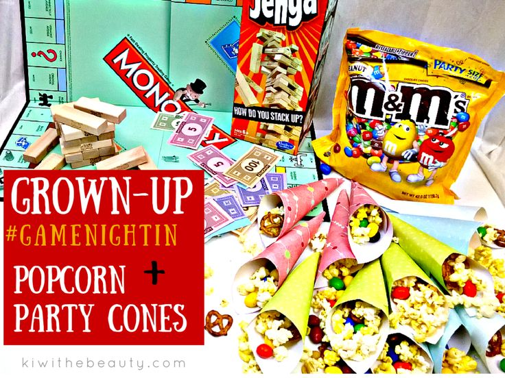 Grown-Up Game Night In with Popcorn Party Cones #GameNightIn #Cbias #ad