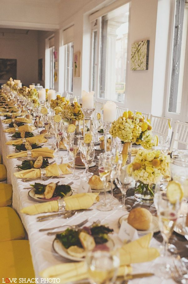 Sunny Yellow Wedding Table   A Little Too Yellow But Pretty