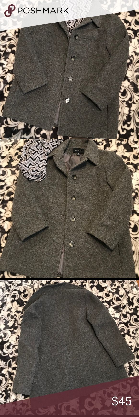 London Fog Wool Pea Coat Gray wool-blended London Fog collar Pea Coat. Two pockets. Size 8 and is 29 1/2 inches long. Like new beautiful heavy coat. London Fog Jackets & Coats Pea Coats