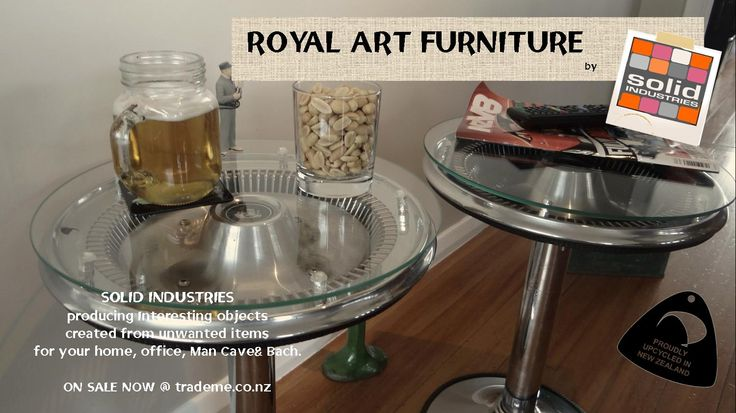 For all you HOLDEN fans out there  1970 holden hubcaps and old barstools combined to create thses two tables. Solid Industries, Royal Art furniture, upcycle