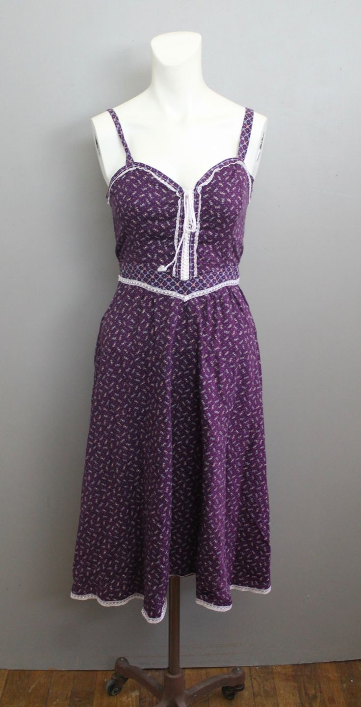 Purple Floral Gunne Sax Dress Lace Detail Corset Top