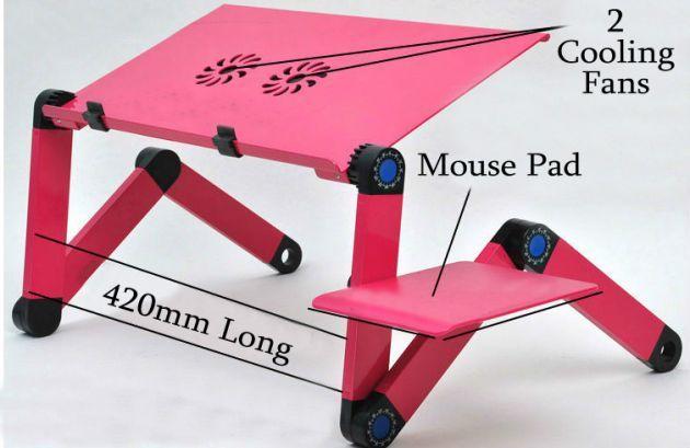 Πτυσσόμενο Τραπεζάκι για Laptop με Βάση για Mouse Pad & 2 Ανεμιστήρες - Smart Foldable Τ8 Table