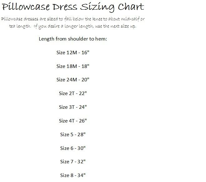 Size Chart for Pillowcase Dress pattern.