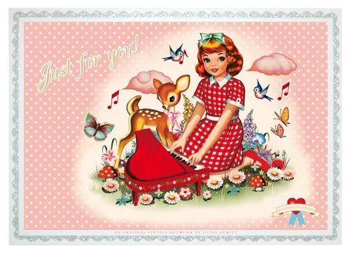 Wu and Wu postcards.Prachtige ansichtkaart met de illustratie Fiona Hewitt voor Cotton Candy chronicles.Gedrukt op 300 grams karton met een zilveren glitter rand.Om te versturen naar een heel speciaal iemand of natuurlijk om helemaal zelf te houden !O - � 1,00