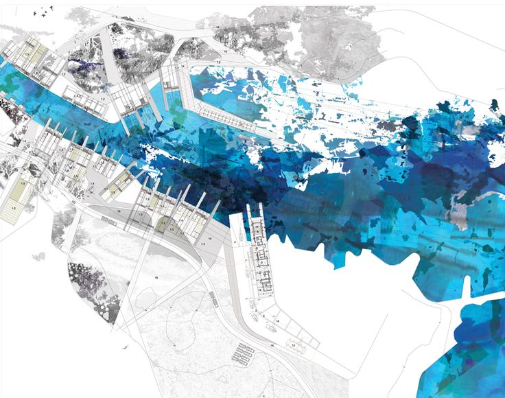 Plan of the river delta with the jetties | Fishing Harbour and Park at Liopetri | draftworks•architects
