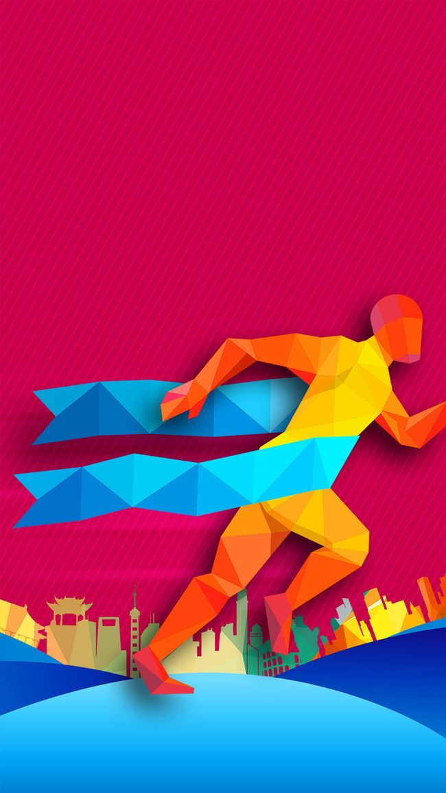 Flat Sports Running Background Psd Layered H5 Colorful Backgrounds Abstract Artwork Presentation Backgrounds