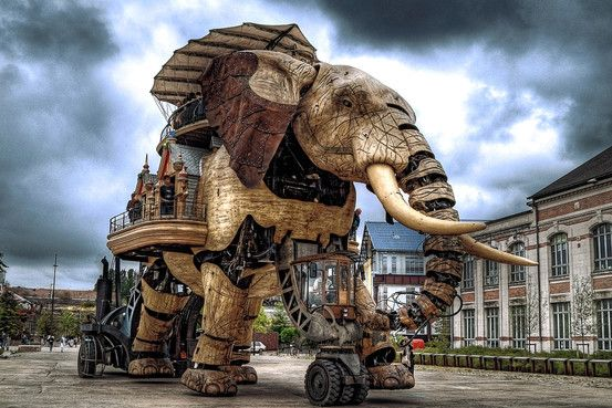 The Great Elephant carries passengers on tours of France's Ile de Nantes. It's featured in the The Steampunk Bible. I want one!