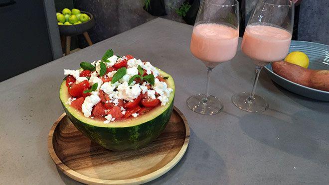 Watermeloensalade met feta & watermeloensmoothie - Vlees noch Vis | 24Kitchen