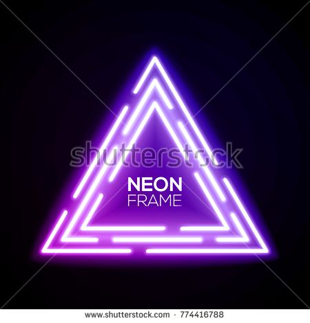 Purple neon light triangles. Shining techno frame. Night club electric bright 3d sign. Banner design on dark blue backdrop. Neon abstract tech background with glow. Technology vector illustration.