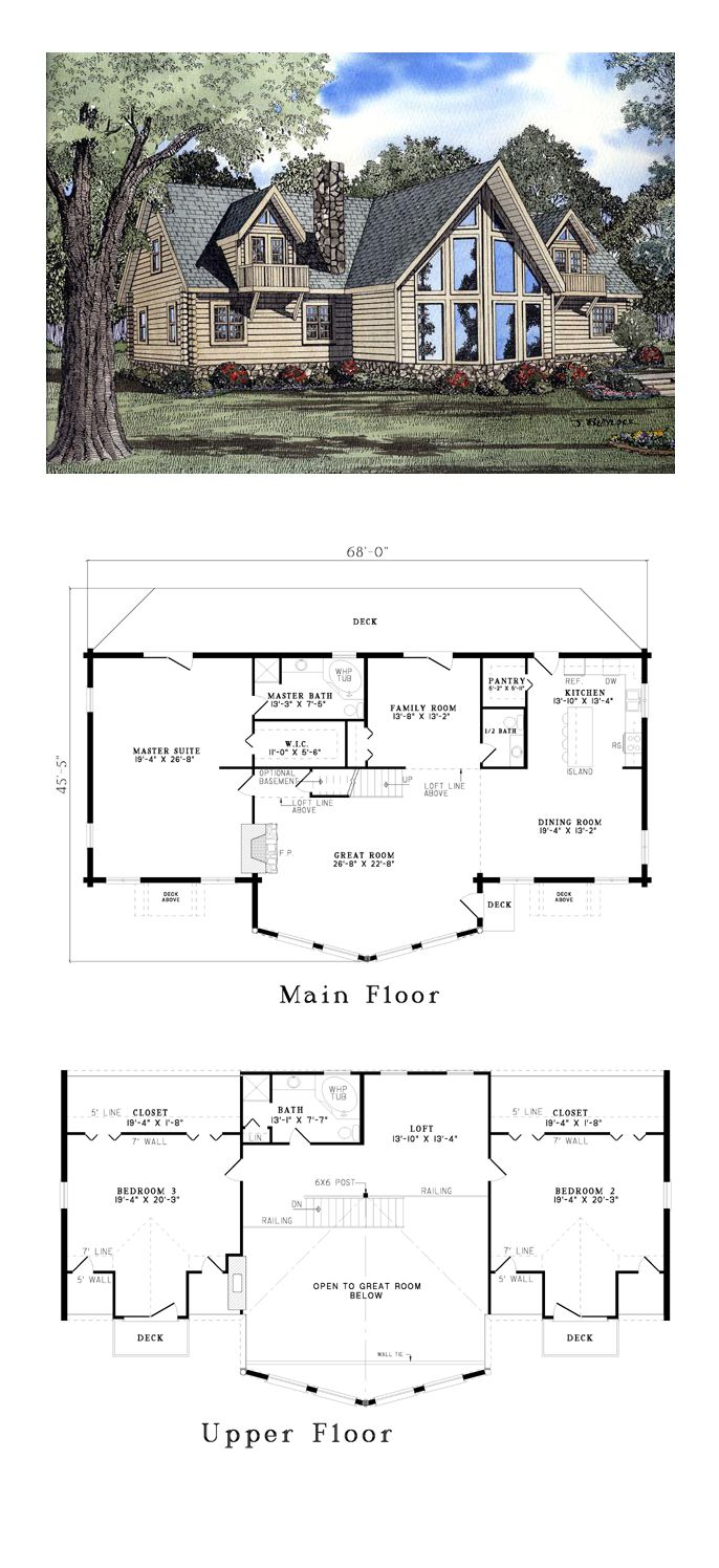 Log House Plan 61106   Total Living Area: 3341 sq. ft., 3 bedrooms and 2.5 bathrooms. #loghome