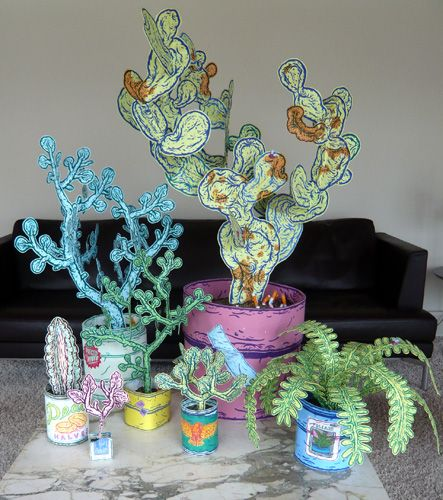 """potted paper plants by Taylor McKimens whom I got """"to know"""" through Anthology Magazine."""