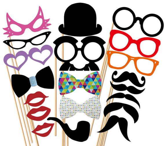 Photo Booth Party - 20 Piece Wedding Photobooth Props Set - Mustache On a Stick