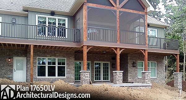 3 bed Craftsman house plan 17650LV with screened porch and walkout terrace.