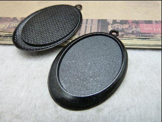 10pcs 30x40mmcabochon sizeblack filigree oval by DIYanyonlysupply