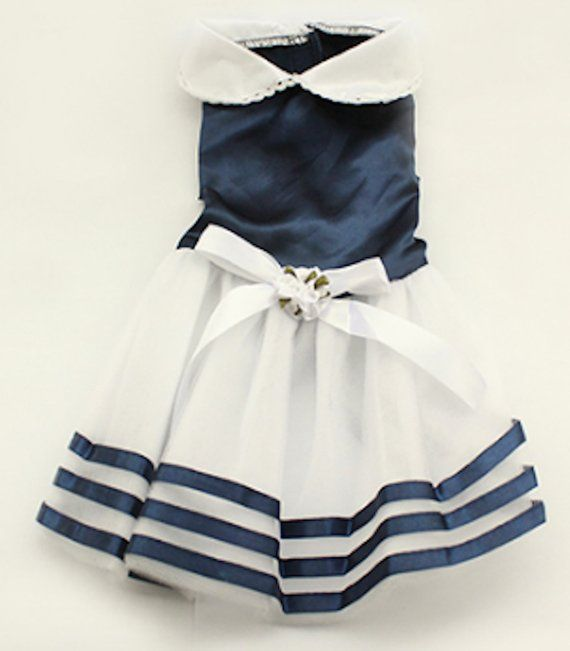Pet Palace Navy Blue Sailor Girl Dress Dogs Pretty And Posh Port Pups Plus Free Led Night Safety Dog Bone Light Dog Dresses Fashion How To Wear