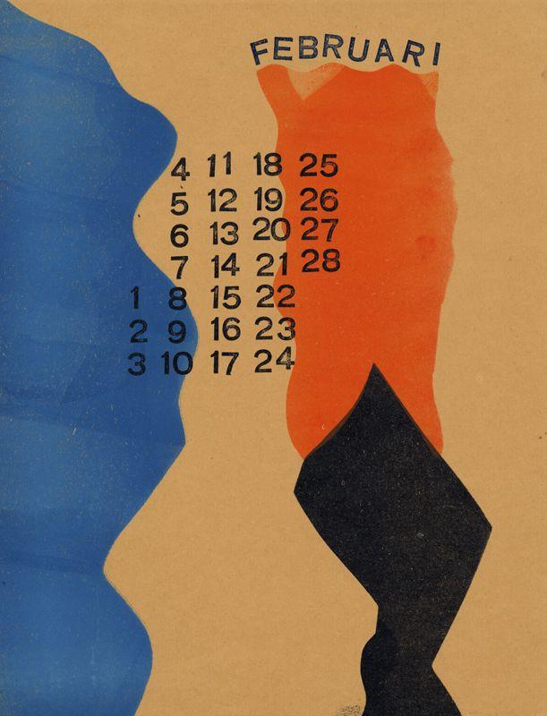 ¤ Werkman, H.N. (Hendrik Nicolaas), 1882-1945 Calendrier février 1945 Date Éditée: 1945