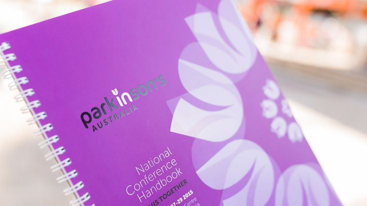Parkinson's National Conference Handbook 2015 - print design, graphic. Drawcard