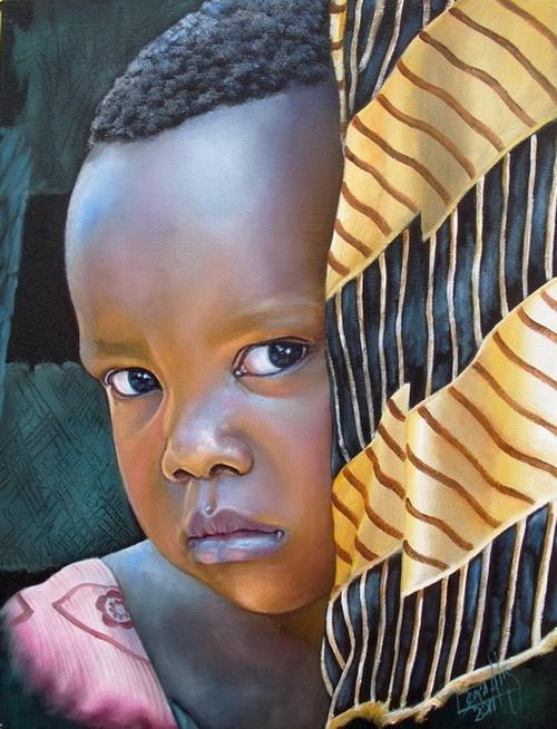 Niño de África 34 Mixta sobre lienzo 30 x 40 ctms 2011                                                                                                                                                                                 Más