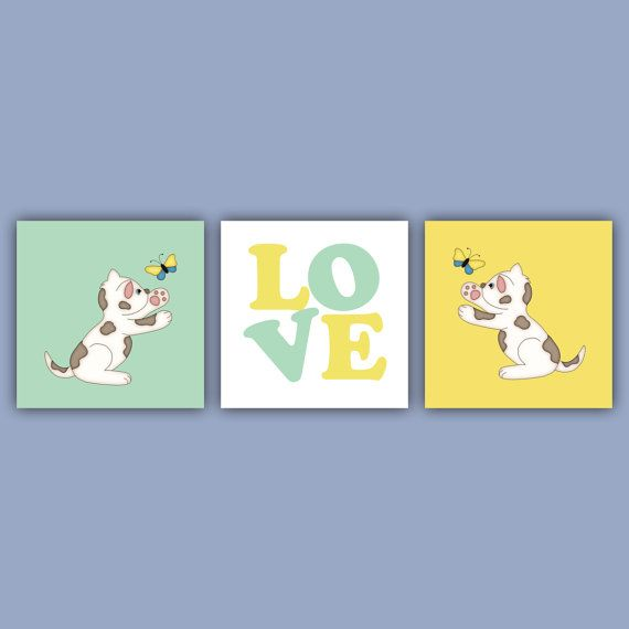 3 Piece Wall Art for Child's Room  Kitty and Butterfly