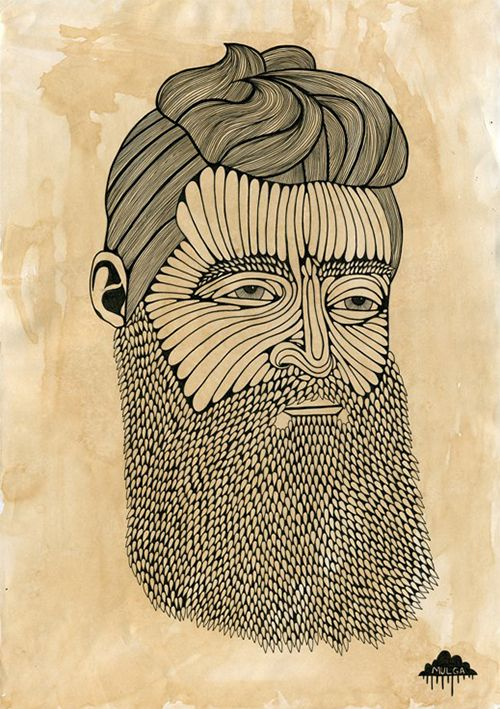 Mulga The Artist - New indie street illustration artwork  artof Ned Kelly look hipster with big beard and fringe joel moore such is life ink detailed