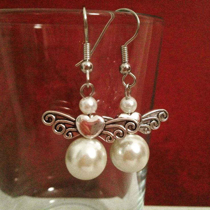 Ivory pearlbead beaded angels earrings